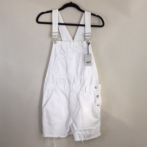 TOPSHOP White Dungaree Shorts Overalls